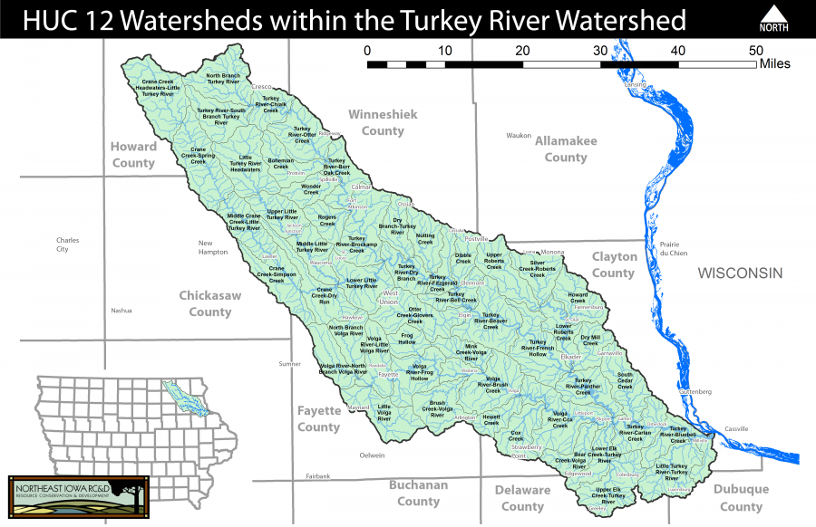 Turkey River Watershed HUC 12 Watersheds